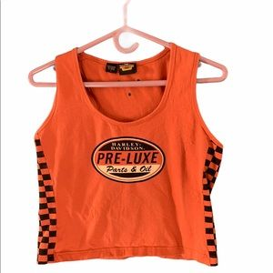 Harley Davidson Crop Top: Orange/Black Che…